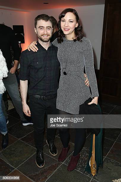 Daniel Radcliffe and Erin Darke attend the Swiss Army Man Premiere Party at The Acura Studio at Sundance Film Festival 2016 on January 22 2016 in...