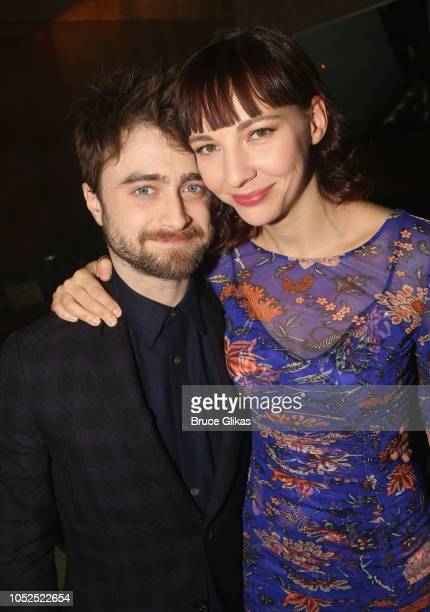 Daniel Radcliffe and girlfriend Erin Darke pose at the opening night after party for the new hit play The Lifespan of A Fact on Broadway at Brasserie...