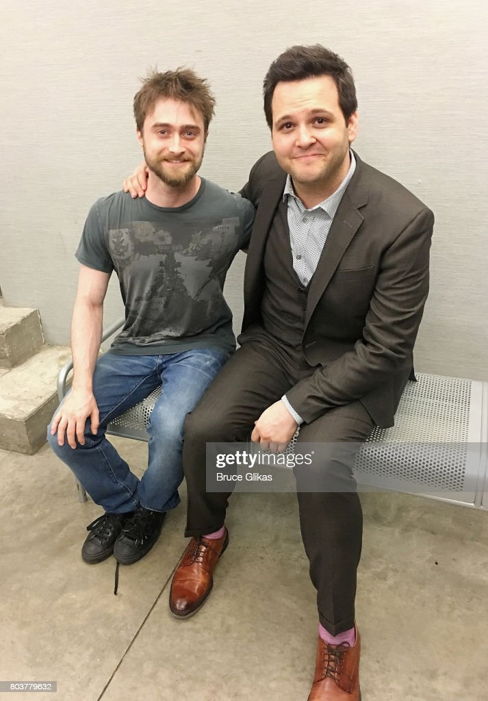Daniel Radcliffe and 'In & Of Itself' star Derek DelGaudio pose backstage at the hit illusion show 'In & Of Itself' at The Daryl Roth Theatre on June 29, 2017 in New York City.