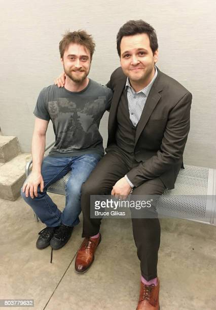 Daniel Radcliffe and 'In Of Itself' star Derek DelGaudio pose backstage at the hit illusion show 'In Of Itself' at The Daryl Roth Theatre on June 29...