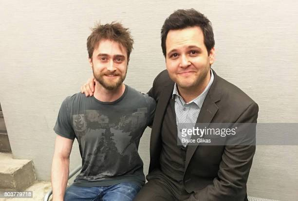Daniel Radcliffe and In Of Itself star Derek DelGaudio pose backstage at the hit illusion show In Of Itself at The Daryl Roth Theatre on June 29 2017...