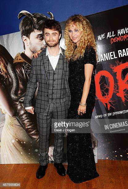 Daniel Radcliffe and Juno Temple attend the UK Premiere of 'Horns' at Odeon West End on October 20 2014 in London England