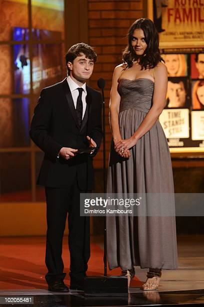 Daniel Radcliffe and Katie Holmes present onstage during the 64th Annual Tony Awards at Radio City Music Hall on June 13 2010 in New York City