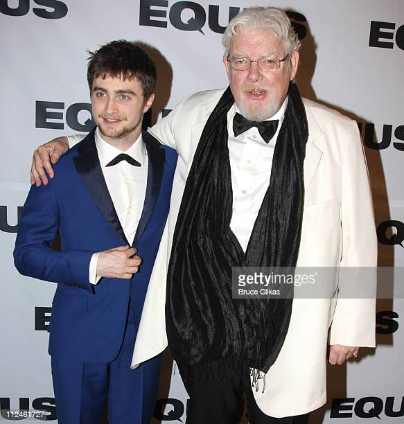 Daniel Radcliffe and Richard Griffiths pose at The Opening Night After Party for Equus on Broadway at Pier 60 on September 25 2008 in New York City