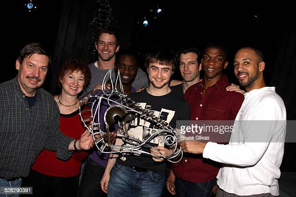 Daniel Radcliffe and the cast during an unveiling of an original prop from the original Equus from 1974 at The Broadhurst Theatre on November 12 2008...