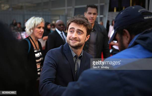 Daniel Radcliffe arrives for the Empire Live 'Swiss Army Mam' 'Imperium' double bill gala screening at Cineworld 02 Arena on September 23 2016 in...