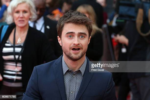Daniel Radcliffe arrives for the Empire Live Swiss Army Mam Imperium double bill gala screening at Cineworld 02 Arena on September 23 2016 in London...