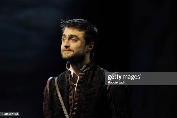 Daniel Radcliffe as Rosencrantz in Tom Stoppard's Rosencrantz Guildenstern Are Dead directed by David Leveaux at The Old Vic Theatre on March 3 2017...