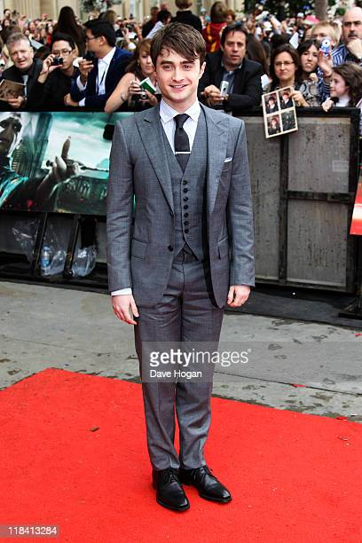 Daniel Radcliffe attends the world premiere of Harry Potter and the Deathly Hallows Part 2 at Trafalgar Square on July 7 2011 in London England