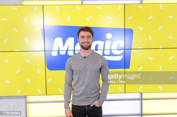 Daniel Radcliffe during a visit to Magic Radio on April 25, 2019 in London, England.