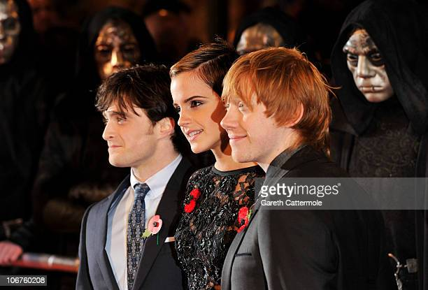 Daniel Radcliffe Emma Watson and Rupert Grint attend the Harry Potter And The Deathly Hallows Part 1 World film premiere at Odeon Leicester Square on...