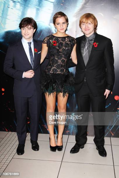 Daniel Radcliffe Emma Watson and Rupert Grint attend the World Premiere of Harry Potter And The Deathly Hallows Part 1 held at The Odeon Leicester...