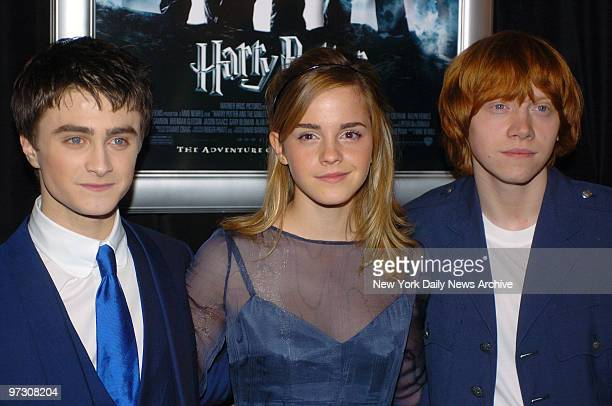 "Daniel Radcliffe, Emma Watson and Rupert Grint get together during the New York premiere of ""Harry Potter and the Goblet of Fire"" at the Ziegfeld..."