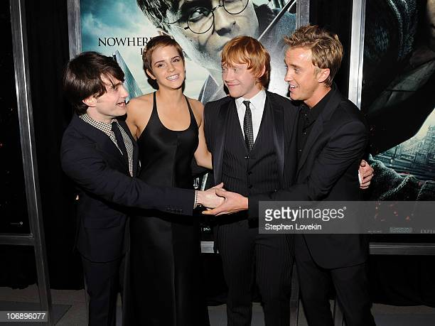 Daniel Radcliffe Emma Watson Rupert Grint and Tom Felton attend the premiere of 'Harry Potter and the Deathly Hallows Part 1' at Alice Tully Hall on...