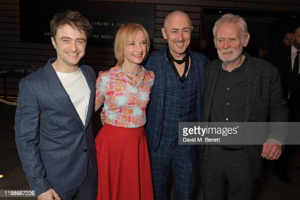 """Daniel Radcliffe, Jane Horrocks, Alan Cumming and Karl Johnson attend the press night after party for """"Endgame"""" at Sea Containers on February 4, 2020..."""
