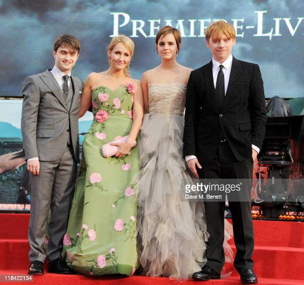 Daniel Radcliffe JK Rowling Emma Watson and Rupert Grint attend the World Premiere of 'Harry Potter And The Deathly Hallows Part 2' in Trafalgar...