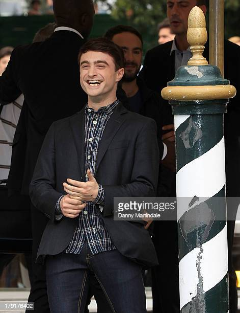 Daniel Radcliffe jokes with photographers on day 5 of the 70th Venice International Film Festival on September 1 2013 in Venice Italy