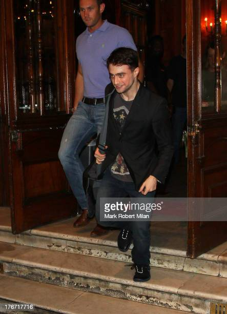 Daniel Radcliffe leaving the Noel Coward theatre following his performance in The Cripple of the Inishmaan on August 17 2013 in London England