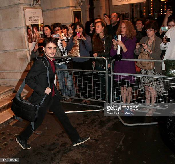 Daniel Radcliffe leaving the Noel Coward theatre following his performance in The Cripple of the Inishmaan on August 24 2013 in London England