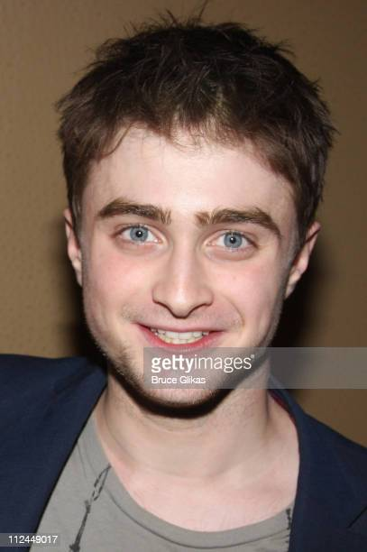 Daniel Radcliffe poses as he visits backstage at Stephen Sondheim's 'Sunday in The Park with George' on Broadway at Studio 54 on June 18 2008 in New...