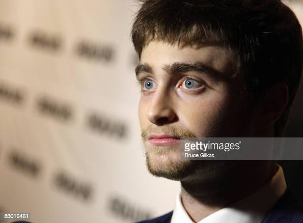 Daniel Radcliffe poses at The Opening Night After Party for Equus on Broadway at Pier 60 on September 25 2008 in New York City