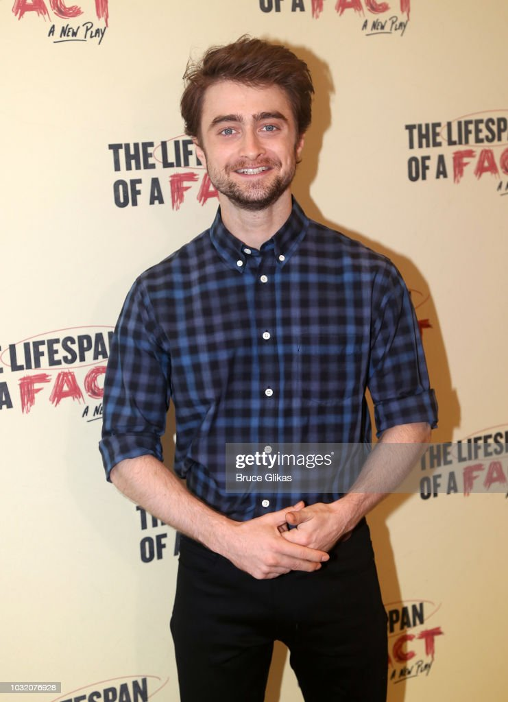 Daniel Radcliffe poses at the 'The Lifespan Of A Fact' photocall and meet & greet at The New 42nd Street Studios on September 6, 2018 in New York City.