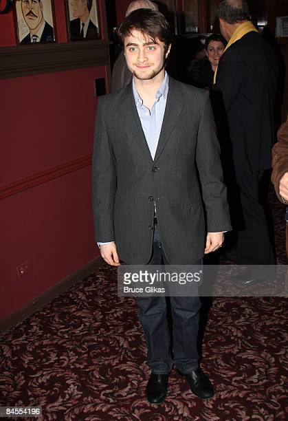 Daniel Radcliffe receives his portrait celebrating his performance in Equus on Broadway at Sardi's on January 29 2009 in New York City
