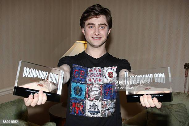 Daniel Radcliffe recieves his 2009 Broadwaycom Audience Awards for his work in the play Equus at The Waldorf Astoria on July 11 2009 in New York City