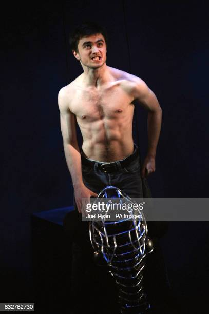 Daniel Radcliffe rides a 'horse' during a photocall for the theatre production of Equus at the Gielgud Theatre Shaftesbury Avenue in west London