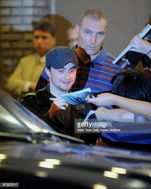 Daniel Radcliffe signs autographs after his performance of Equus at the Broadhurst theater on 44th St