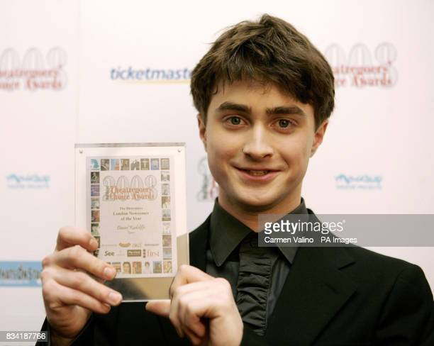 Daniel Radcliffe with his award for 'London Newcomer' for Equus during the Whatsonstagecom Theatregoers' Choice Awards 2008 at the Lyric Theatre in...