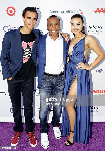 Daniel Ray Leonard, former professional boxer Sugar Ray Leonard, and Camille Leonard attend HollyRod Foundation's DesignCare Gala on July 16, 2016 in...