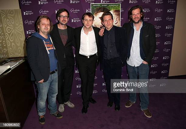 Daniel Reich Christoph Holthof Max Riemelt Hanno Koffler and Stephan Lacant attend 'Freier Fall' cast at Glashuette Lounge on February 8 2013 in...