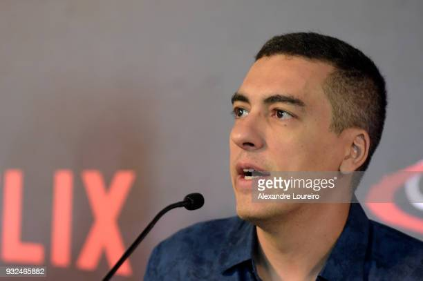 Daniel Rezende speaks during the press conference for the new Netflix series O Mecanismo at the Belmond Copacabana Palace Hotel on March 15 2018 in...