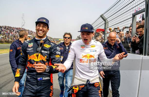 Daniel Ricciardo and Max Verstappen react during the Jumbo Racing Days at the Circuit Park Zandvoort in Zandvoort on May 20, 2018. / Netherlands OUT
