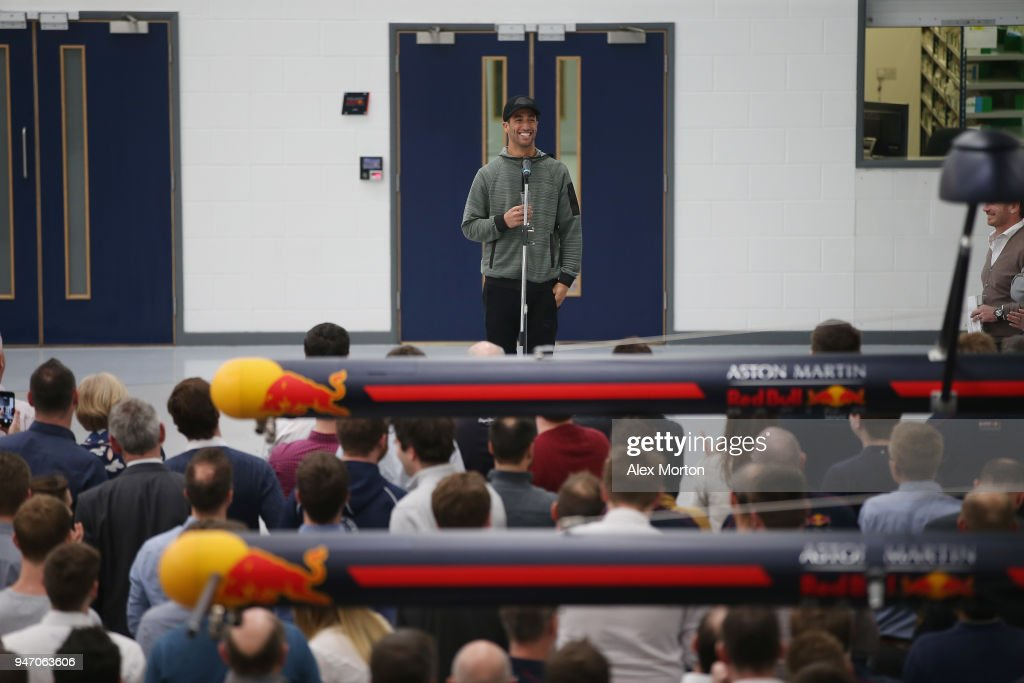 Daniel Ricciardo, driver for Red Bull Racing addresses the team at the Red Bull Racing factory on April 16, 2018 in Milton Keynes, England.