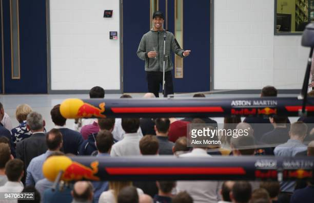 Daniel Ricciardo driver for Red Bull Racing addresses the team at the Red Bull Racing factory on April 16 2018 in Milton Keynes England