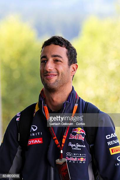 Daniel Ricciardo driving for the Infiniti Red Bull Racing Team in the paddock during the 2015 Formula 1 Shell Belgian Grand Prix at Circuit de...
