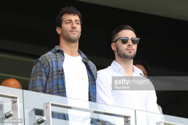 Daniel Ricciardo looks on during the AFL Prelimary Final match between the West Coast Eagles and the Melbourne Demons on September 22 2018 in Perth...