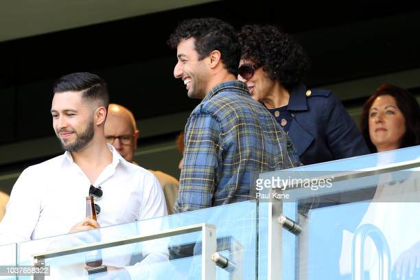 Daniel Ricciardo looks on during the AFL Preliminary Final match between the West Coast Eagles and the Melbourne Demons on September 22 2018 in Perth...