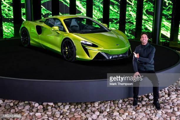 Daniel Ricciardo, McLaren F1 driver reveals the new McLaren Artura high-performance hybrid supercar at McLaren Technology Centre on January 29, 2021...
