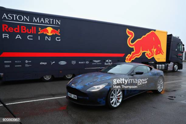Daniel Ricciardo of Australia and Aston Martin Red Bull Racing arrives at the circuit in his Aston Martin DB11 before the Aston Martin Red Bull...