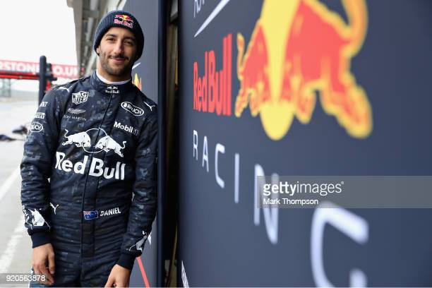 Daniel Ricciardo of Australia and Aston Martin Red Bull Racing looks on outside during the Aston Martin Red Bull Racing RB14 Special Edition filming...