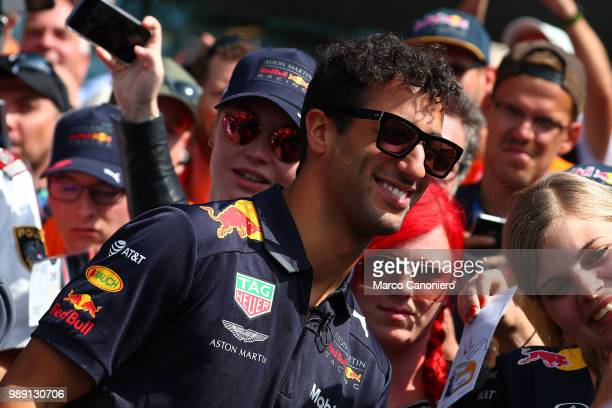 Daniel Ricciardo of Australia and Aston Martin Red Bull Racing with the fans during the Formula One Grand Prix of Austria