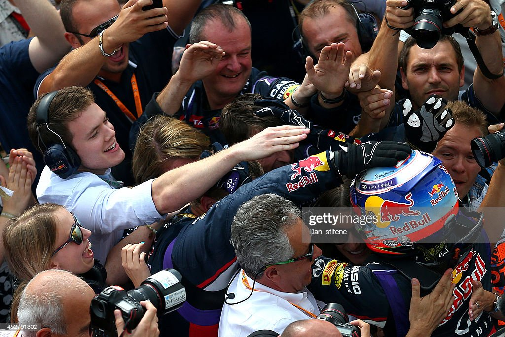 Daniel Ricciardo of Australia and Infiniti Red Bull Racing celebrates victory in Parc Ferme after the Hungarian Formula One Grand Prix at Hungaroring on July 27, 2014 in Budapest, Hungary.
