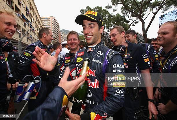 Daniel Ricciardo of Australia and Infiniti Red Bull Racing celebrates following his third place during the Monaco Formula One Grand Prix at Circuit...