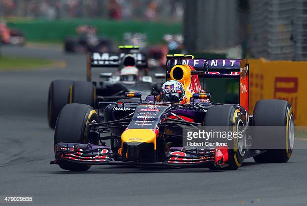 Daniel Ricciardo of Australia and Infiniti Red Bull Racing drives on his way to finishing second during the Australian Formula One Grand Prix at...