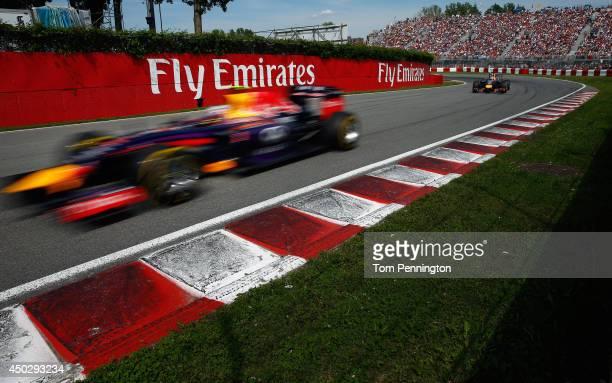 Daniel Ricciardo of Australia and Infiniti Red Bull Racing drives during the Canadian Formula One Grand Prix at Circuit Gilles Villeneuve on June 8,...