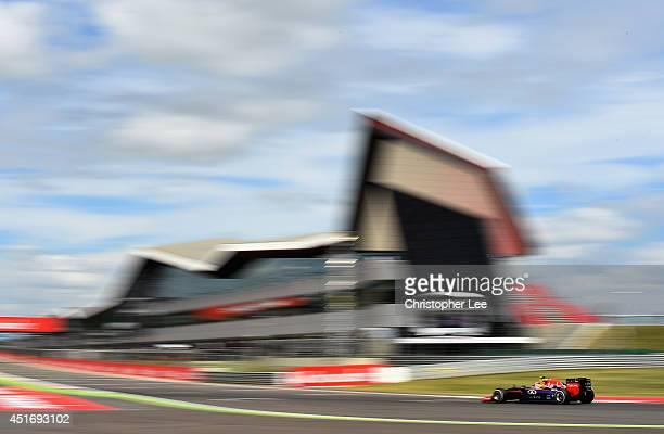 Daniel Ricciardo of Australia and Infiniti Red Bull Racing drives during practice ahead of the British Formula One Grand Prix at Silverstone Circuit...