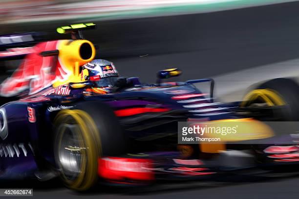 Daniel Ricciardo of Australia and Infiniti Red Bull Racing drives during practice ahead of the Hungarian Formula One Grand Prix at Hungaroring on...